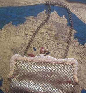 German Silver ART NOUVEAU GOLD/Brass MESH PURSE~Leather Lining