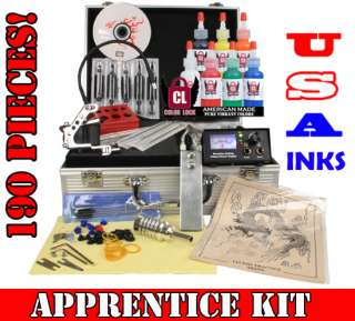 Complete Beginner Tattoo Kit Set Power Supply 7 USA Ink Needles Grip
