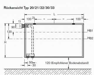 BUDERUS Ventilheizkörper Flach Heizkörper 11 600 x 400