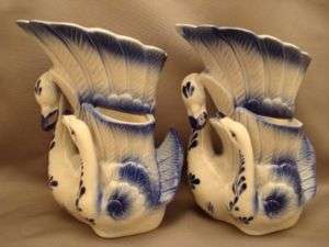 Swan Mother & Baby Porcelain Blue White Vases Vase