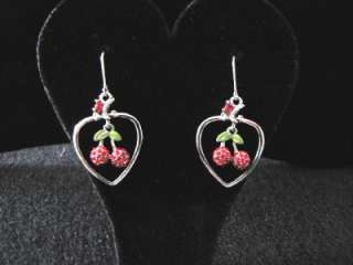Cherry Fruit Red Swarovski Crystal Dangle Earrings