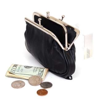Leather Womens Wallet Metal Frame Coin Purse ID Credit Card Case Coin