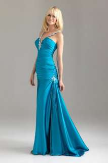 River Blue Ruched Bodice Mermaid Ball Gown/evening/prom dress