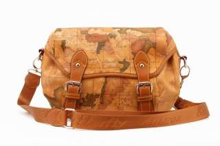 Womens Map PU Leather School Travel Bag Backpack C161