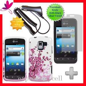 Screen + BLOSSOM Hard Case Cover 4 Straight Talk NET 10 LG OPTIMUS Q