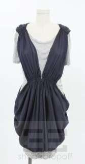 Thakoon Grey Jersey & Navy Blue Silk Draped Dress