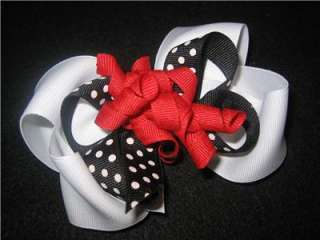 Black White Red Dots Boutique Hair Bow Korker Girl Baby