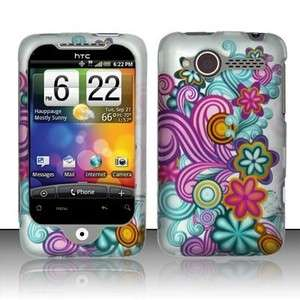 Purple Blue Flower Hard Case Cover HTC Wildfire 6225