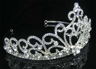 Wedding/Bridal crystal veil tiara crown headband CR213