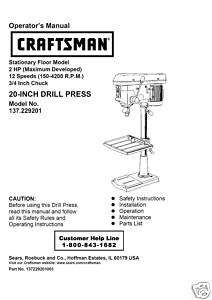 Craftsman 20  DRILL PRESS Manual Model 137.229200