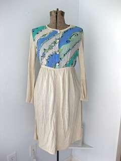 Vintage Emilio Pucci blue green babydoll knit dress 42