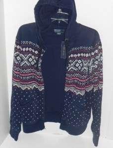 Polo Ralph Lauren Navy Blue Multi Zip Sweat Hoodie Jacket M NWT