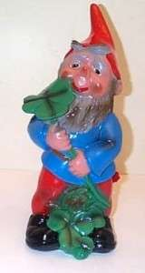 Heissner Garden Gnome Elf Pixie Holding a Lucky Clover   Discontinued
