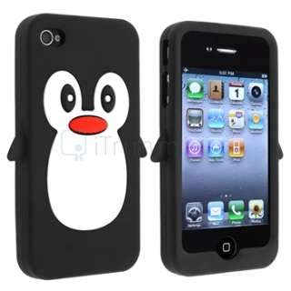 Penguin Black Rubber Soft Silicone Case Skin+Stylus Pen For iPhone 4