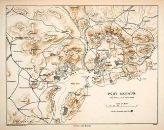 Map Port Arthur Russo Japanese War Fortress Manchuria Takhe Bay