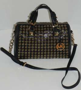 MICHAEL KORS GRAYSON Black Grommet Large LEATHER SATCHEL HANDBAG NWT