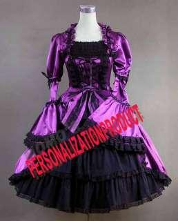 Victorian Gothic Lolita Satin Purple Dress Ball Gown 2P