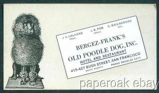 Bergez   Franks Old Poodle Dog Restaurant Trade Card