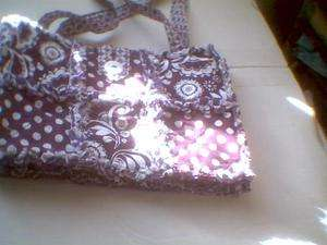 Rag quilt purse bag Purple floral paisley and polka dots white