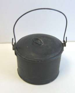 Childs Antique doll Tin black small lunch pail bucket