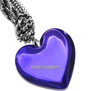 Purple Heart Crystal Glass Pendant Braided Necklace