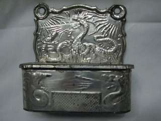 ANTIQUE TIN MATCH SAFE HOLDER ORIENTAL DRAGON DESIGN EMBOSSED