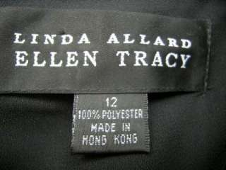 Linda Allard for Ellen Tracy black polyester crepe party, cruise dress