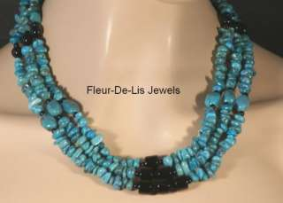 Jay King MINE FINDS Turquoise & Black Agate 3 Strand Necklace