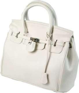 Star Style Classic Lady PU Leather Handbag Silver Lock Single Shoulder