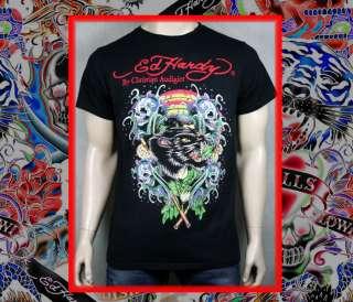 ED Hardy Mens Panther Skull Waves Platinum t shirt