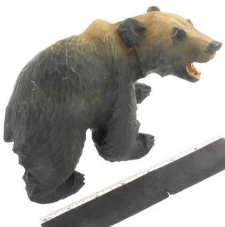 ANTIQUE WOOD BLACK BEAR CARVING AMERICAN FOLK ART