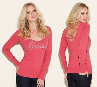 NEW GUESS RED ALETTE SWEATER CRYSTAL LOGO TOP CRISSCROSS OPEN BACK XS