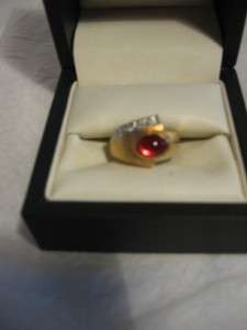 18kt HGE Mens Simulated Ruby & Diamond Gold Ring,Size 7