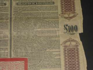 100 Imperial Chinese Government Gold Loan bond 1908 China HSBC