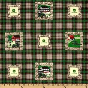 44 Wide John Deere Scenic Block Plaid/Green Fabric By