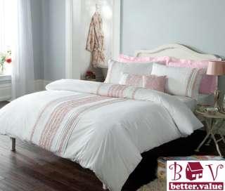Duvet Cover Set Luxury Bedding + 2 Pillow Cases Jayne White DOUBLE
