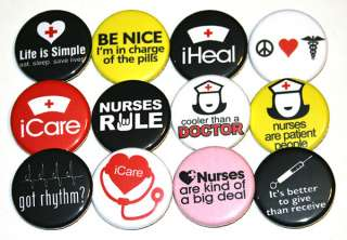 NURSES NURSING Badges Buttons Pins x 12 Badge Lot