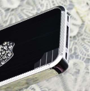 4S High Quality Luxury Bling Designer Stone Case Dark Gun Metal Apple