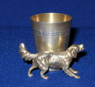 Antique WMF EP Silver Hunting Dog Liquor Whisky Measure Tot Cup c.1910