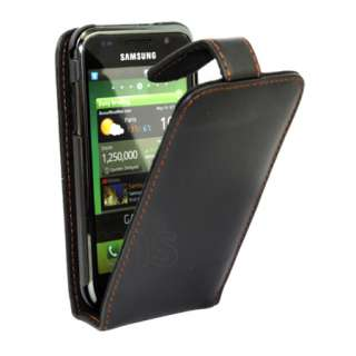 Store   Black Flip Leather Case For Samsung Galaxy S Plus i9001 + Film