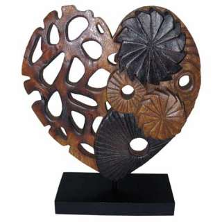 WOODEN LOVE HEART SOLID ACACIA WOOD HAND CARVED CONTEMPORARY ART