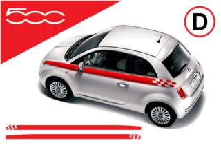 Fiat 500 chequered flag side stripes stickers decals D