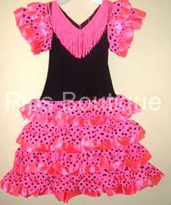 SPANISH FLAMENCO DRESS, NEW GIRLS, PINK 5/7 YEARS
