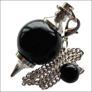 Black Agate Onyx Ball Crystal Dowsing Pendulum Dowser Scrying