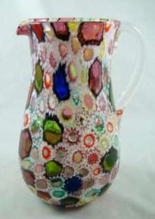 Vintage Italian Millefiori Flower Art Glass Pitcher Jug