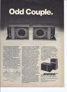RARE 1977 Bose 301 Bookshelf Speaker Ad Odd Couple