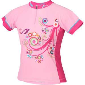 Girls Pink Bird Shirt Youth Cycling Shirt Bike Jersey