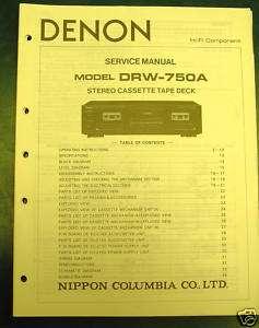 DENON SERVICE MANUAL DRW 750A STEREO CASSETTE TAPE DECK