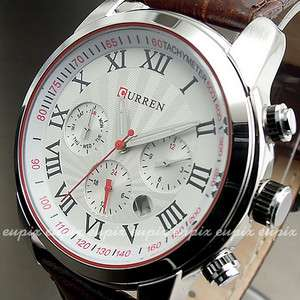 CLOCK DAY HOURS HAND DATE WATER BROWN LEATHER MEN WRIST WATCH WX131