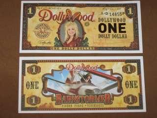 2011 $1 DOLLYWOOD DOLLY PARTON DOLLAR + DISNEY DOLLAR ENVELOPE